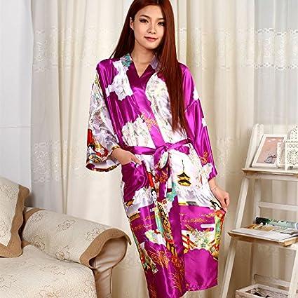 Wanglele Vestido De Encaje Satinado Kimono Pijama Batas De Seda Silk Flower Bata Albornoz,Rosa