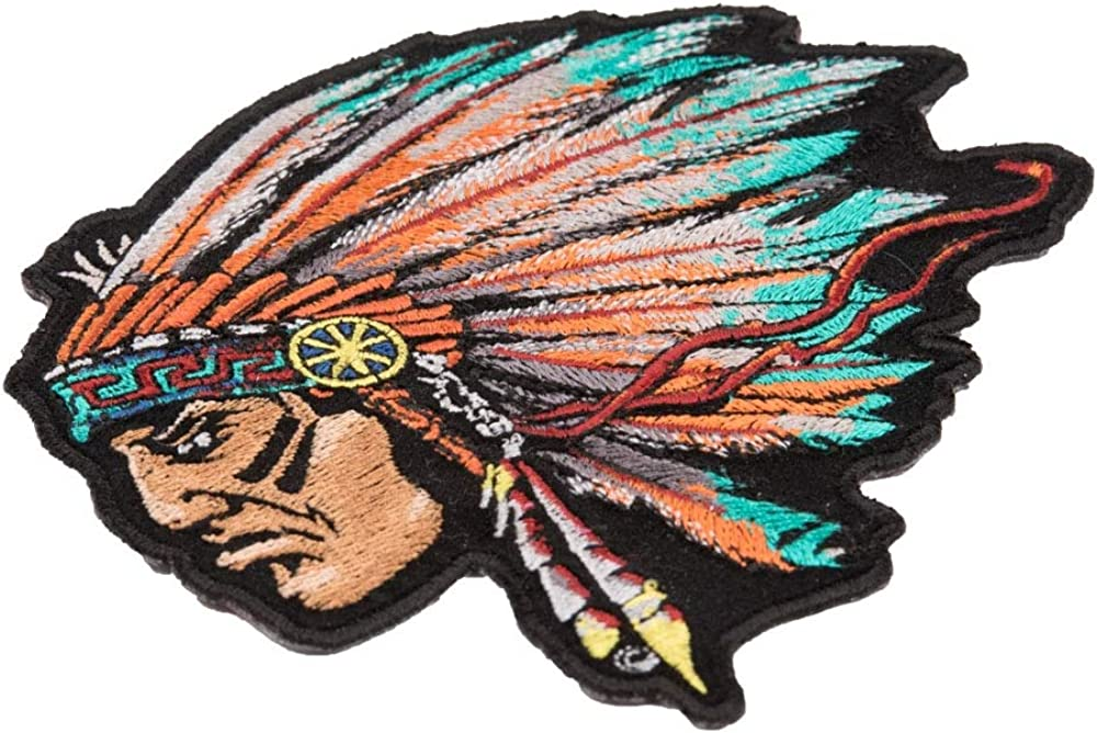 Turquoise Native American Chief Patch Small Size