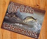 Fishing Cabin Fish Lake Rustic Picture Tin Welcome Sign Hanging Wall Door Plaque