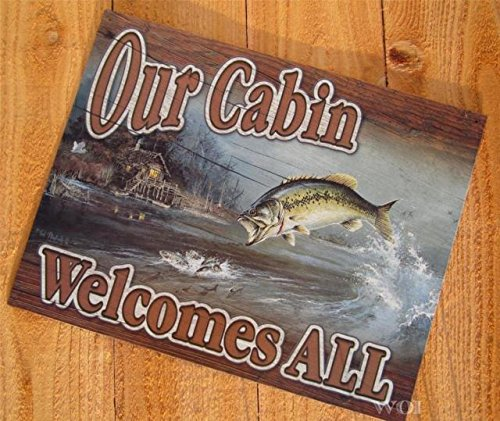 Fishing Cabin Fish Lake Rustic Picture Tin Welcome Sign Hanging Wall Door Plaque by Interior Decoration