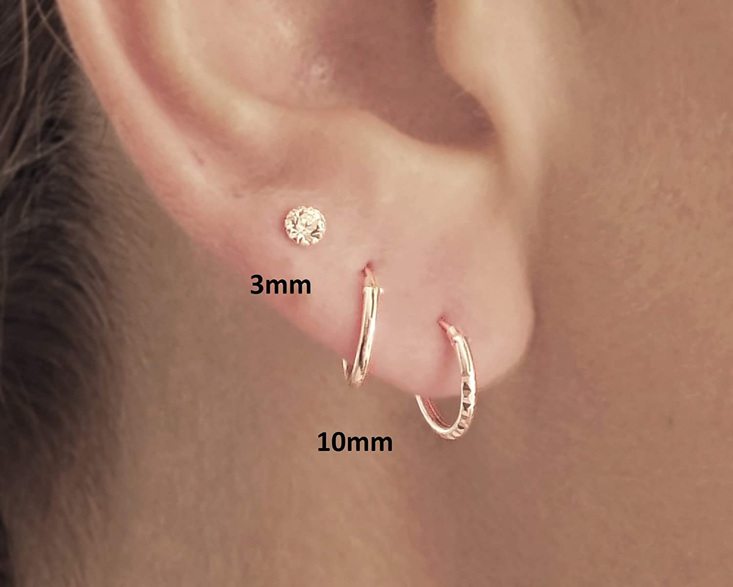 Amazon Com Set Of 3 Small Sterling Silver Hoops And Crystal Stud