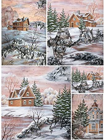 Made in Russia ~ 11,1 x 15,11 inches Rice paper for decoupage.French