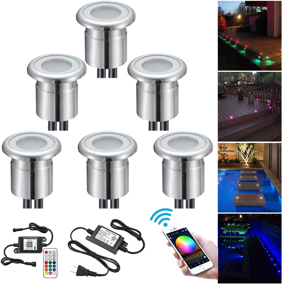 WiFi Smart Low Voltage LED Lights Kit FVTLED Pack of 30 /Φ1.1 Recessed LED Deck Lighting Garden Pathway Lights for Stair Patio Paver Floor Work with Alexa Echo Dot Google Home IFTTT