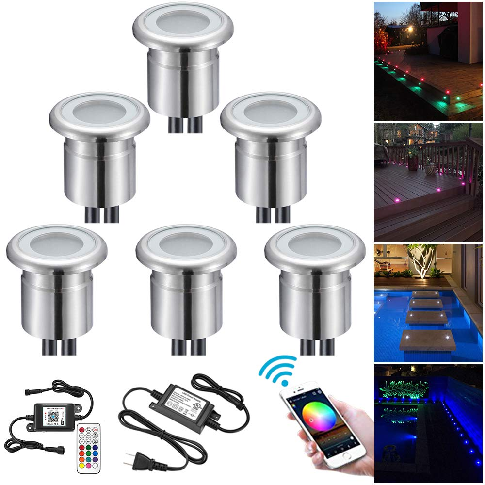 Smart Deck Lighting Kit, FVTLED Pack of 6 Φ1.1'' Low Voltage LED Outdoor Step RGB Lights for Stair Step Garden Patio Yard Wood Floor Compatible with Alexa Echo Dot Google Home IFTTT