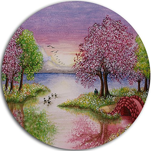Romantic Lake in Pink & Green Round Landscape Metal Wall Art