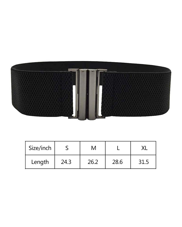 Hyling Wide Stretchy Vintage Waist Belt with Metal Buckle Black