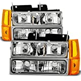 truck accessories 96 chevy - For 94-99 GMC Full Size Pickup Truck Suburban Sierra Headlights w/Corner + Bumper Signal Lamps 8pcs Set