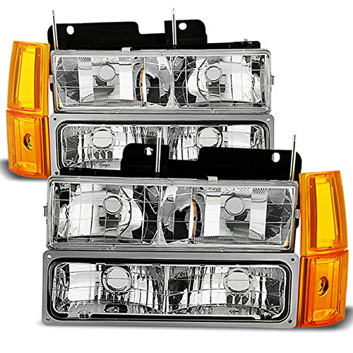(For 94-99 GMC Full Size Pickup Truck Suburban Sierra Headlights w/Corner + Bumper Signal Lamps 8pcs Set)
