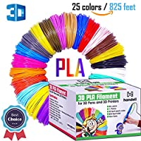 3d Pen Filament Refills - PLA filament 1.75mm | 25 Colors, 20 Solid Colors + 5 Fluorescent / Transparent, 33ft Each, 825 Feet Total by Handell Arts