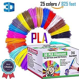 3d Pen Filament Refills - PLA filament 1.75mm | 25 Colors, 20 Solid Colors + 5 Fluorescent / Transparent, 33ft Each, 825 Feet Total by Handell Arts