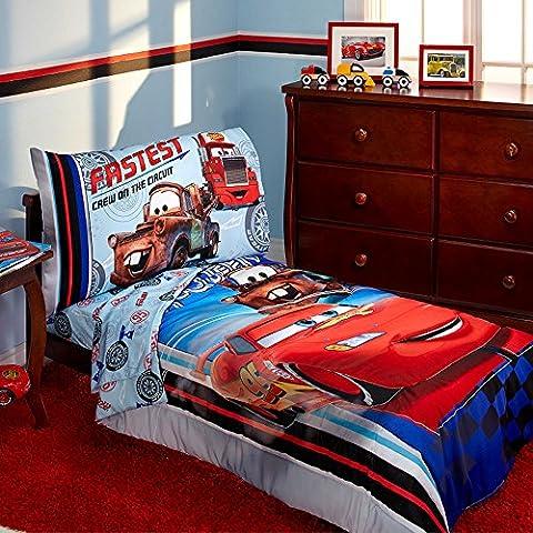 Disney Pixar Cars Lightning Mcqueen Toddler Bedding 4-Piece Bed in a Bag Kids Comforter Set and Giant Wall - Cars Mega Mack Playset
