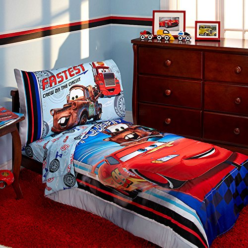 [Disney Pixar Cars Lightning Mcqueen Toddler Bedding 4-Piece Bed in a Bag Kids Comforter Set and Giant Wall] (Toddler Lil Ninja Costumes)