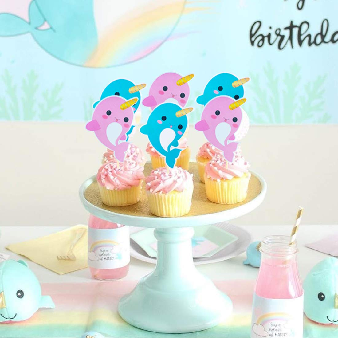 Narwhal Party Decorations Birthday Party Supplies Under the Sea Baby Shower for Girls Boys 1st Birthday