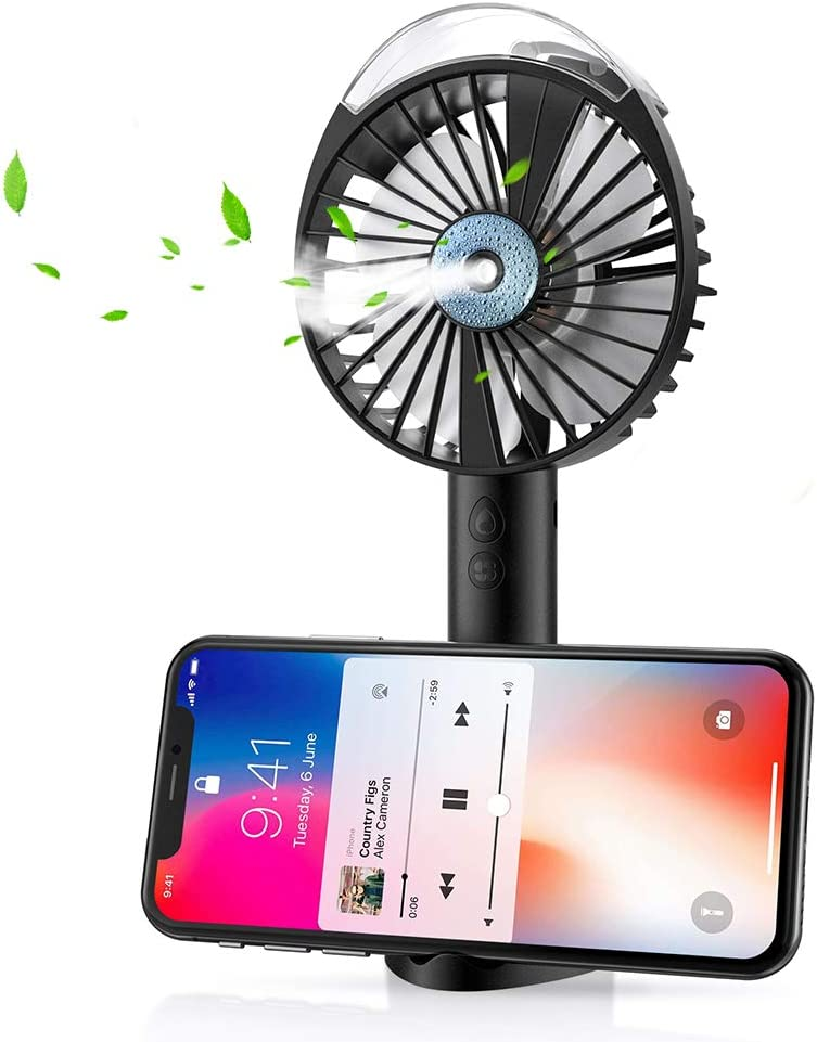 SEEKONE Handheld Misting Fan, Portable USB and Battery Powered Mini Mist Fan Rechargeable Low Noise Water Spray Fan with 3 Speed Modes and Cooling Humidifier for Outdoor, Home, Office and Travel (Black)