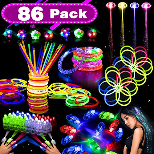 86 Pack LED Light Up Toy Glow in the Dark Party Supplies for Kids with 50 Glow Sticks Bulk 20 LED Finger Lights 4 LED Glasses 4 Light Up Hair 4 LED Bracelets for 2019 New Party Birthday Gift