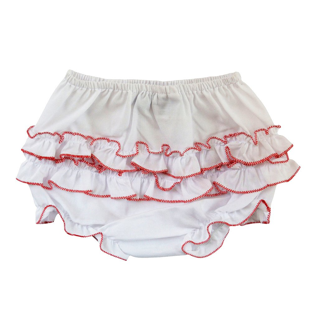 Carriage Boutique Baby Girl Ruffle Panty Diaper Covers - Red Trim