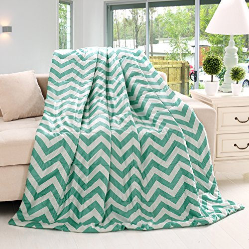 Luxurious Teal and White Oversized Chevron Throw Blankets 60