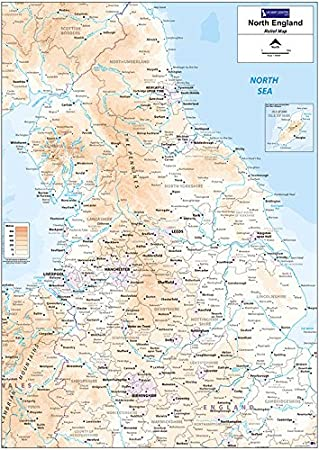 Map Of Northern England.Relief Map 3 Northern England Photo Paper Amazon Co Uk Office