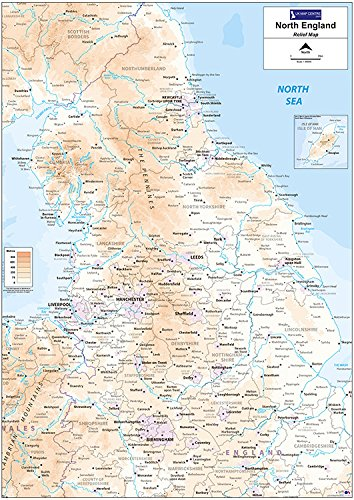 North Of England Map.Relief Map 3 Northern England Matt Paper With Face Lamination