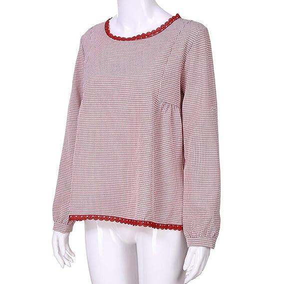 Blusas para Mujer PANY Impresión de Enrejado Manga Larga Suelta Blusa Camisa Casual Cuello Redondo: Amazon.es: Ropa y accesorios