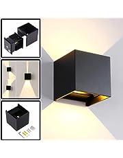 12W Lampade da Parete per Esterno / Interni Led, Applique da Parete Impermeabile IP65 Lampada Muro in Alluminio Angolo Su e Giù Regolabile Moderno Design 3000K Bianco Caldo (Nero)