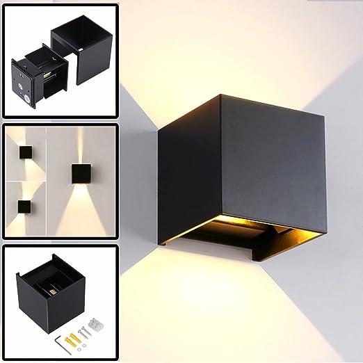 LED Apliques De Pared Modernos En Acero, Impermeable IP65 Lamparas para Dormitorios, Salon, Comedor Jardín De Lluminación de Exterior y Interior (Negro 7W): Amazon.es: Iluminación