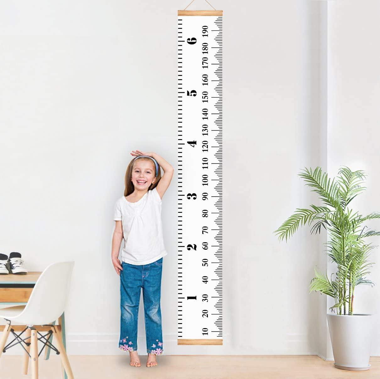 Lorcoo Gráficos de crecimiento para colgar en la pared, Tabla de Crecimiento Infantil Medidor de Aaltura Infantil para niños y niñas, Decoración de la habitación de los niños