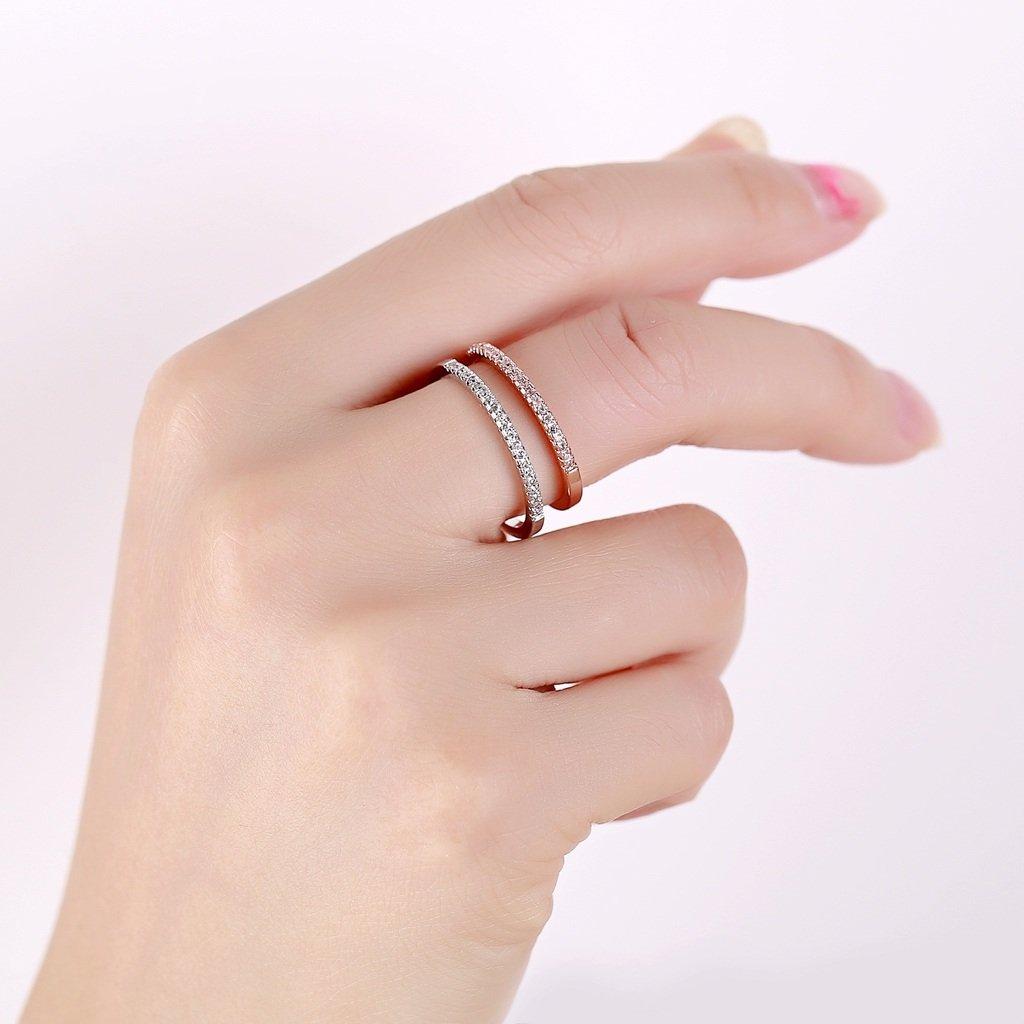 Amazon.com: Aienid Women Eternity Rings Sets Stainless Steel Channel ...