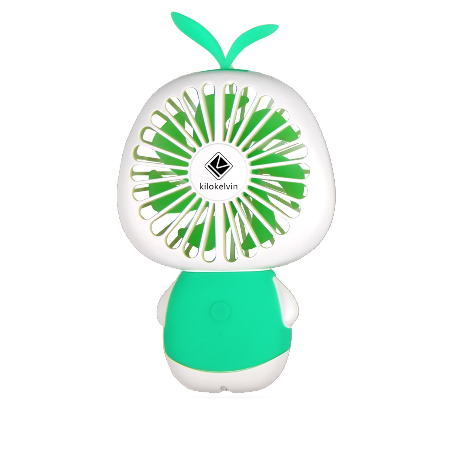 Letton Portable Mini Handheld Fan Rechargeable Battery with 2 Speed LED Light for Home-Green