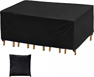 Harita Patio Furniture Covers, Rectangular Outdoor Furniture Covers Waterproof, Heavy Duty Table Chair Set Covers, Tear-Resistant, UV Resistant, Comes with Storage Bag, 95