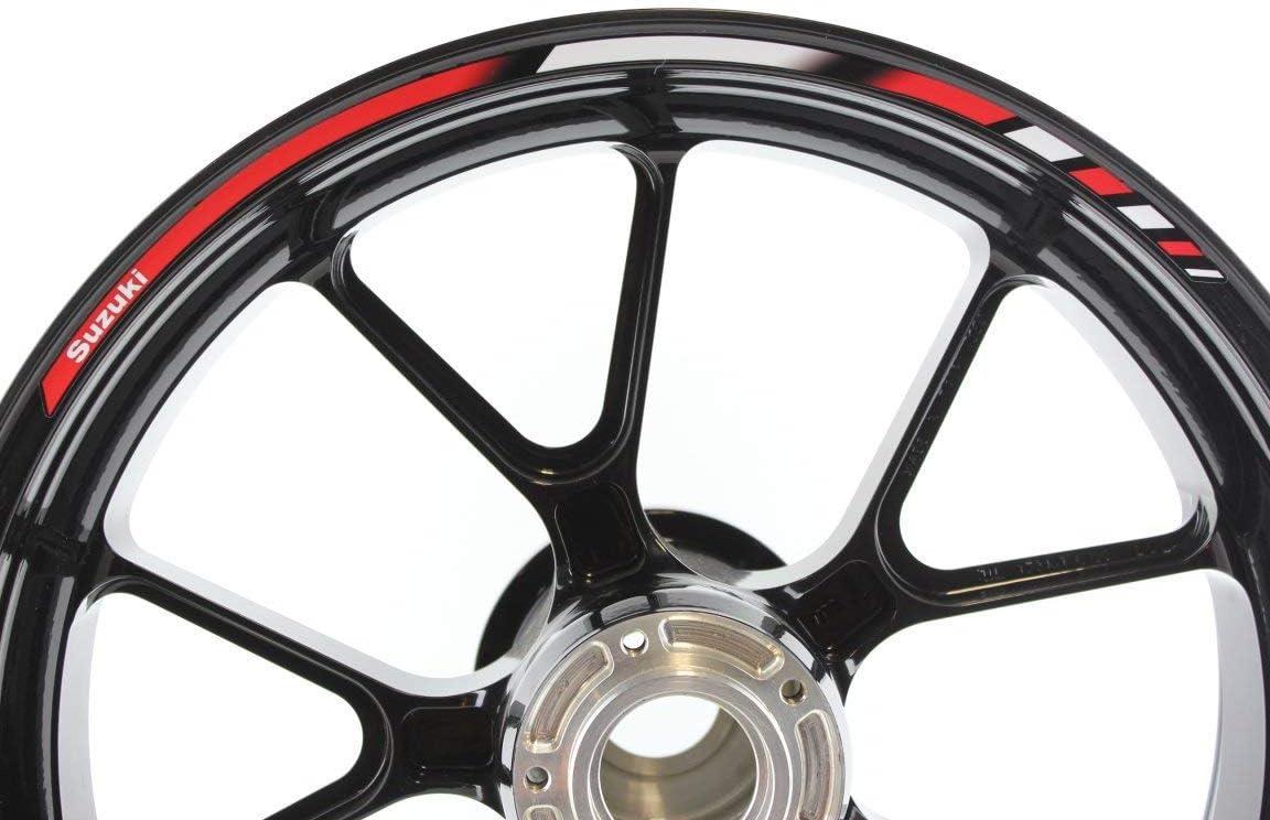 Impressiata Suzuki Motorrad Felgenrandaufkleber Specialgp Rot Und Weiß Komplettset Aufkleber Sticker Auto