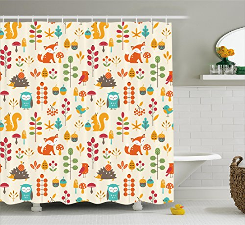 Ambesonne Children Shower Curtain, Cute Kids Autumn Pattern with Owl Fox Squirrel Birds Animal Leaves Artsy Print, Fabric Bathroom Decor Set with Hooks, 70 Inches, (Autumn Leaves Pattern)