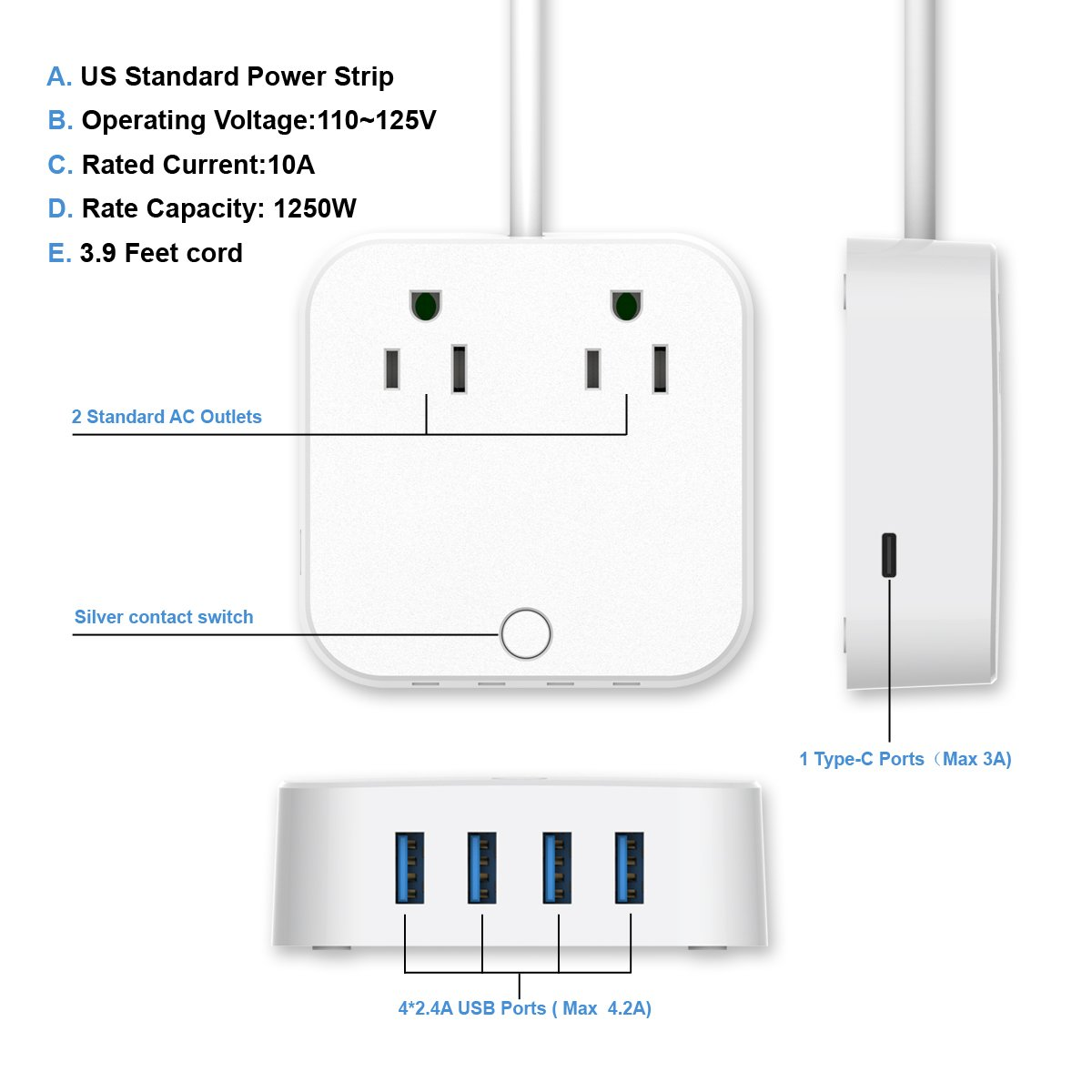 ❤ USB Extension Cord - Surge Protector Power Strip, Type-C Charging Port (5V/3A) & 4 USB Ports (5V/2.4A), Portable Travel Charger Station for iPhone iPad Samsung & Tablets, USB C Not for Laptops by HITRENDS (Image #2)