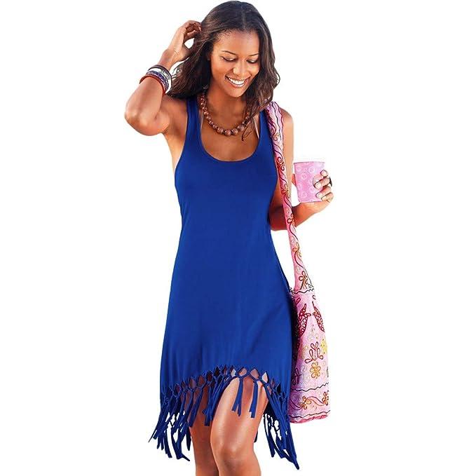 Amazon.com: Vestido de mujer casual sin mangas con borla en ...