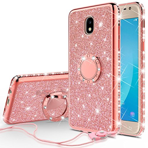 Usa Phone - [GW USA] Glitter Cute Phone Case Girls Compatible for Samsung Galaxy J7 2018,J7v 2nd Gen,J7 Refine,J7 Aero Case,J7 Top,J7 Aura,J7 Star Case,Bling Diamond Bumper Ring Stand Thin Soft Sparkly, Rose Gold