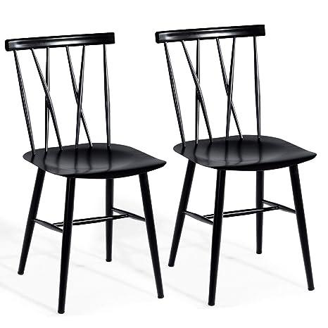 Amazon.com: COSTWAY Silla de comedor Chic Bistro Cafe silla ...
