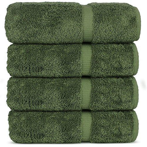 Luxury Premium Long-Stable Hotel & Spa Turkish Cotton 4-Piece Eco-Friendly Bath Towel Set (Moss)