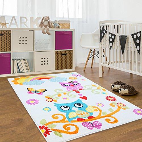 Kinder Teppich Moda Öko Tex Eule creme bunt verschiedene Größen 120x160 cm