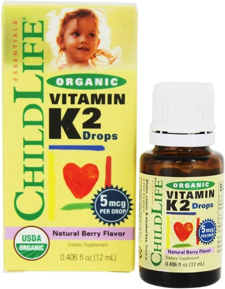 Child Life New! Organic Vitamin K2 Liquid Natural Berry Glass Bottle, 0.95 Pound