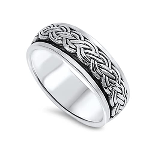 sterling silver wiccan pagan weave spinner ring size 12 - Wiccan Wedding Rings