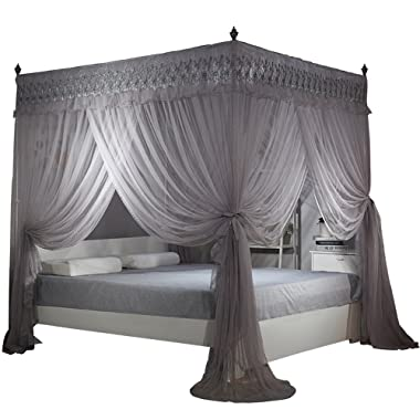 Nattey Gray 4 Post Bed Curtain Canopy Mosquito Netting Bed Canopies