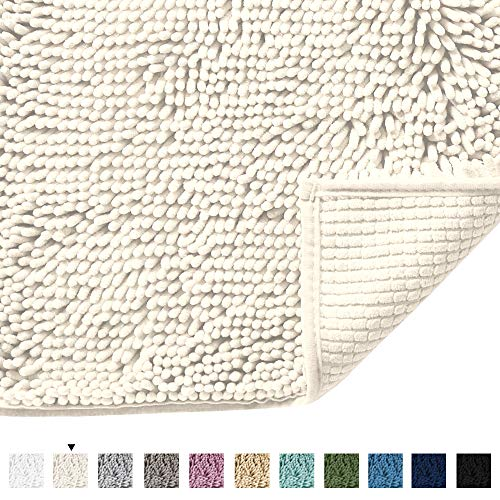 H.VERSAILTEX Microfiber Bath Rugs Chenille Floor Mat Ultra Soft Washable Bathroom Dry Fast Water Absorbent Bedroom Area Rugs Indoor Mats for Entryway, Cream 17 inches by 24 inches (Best Rug Material Entryway For)