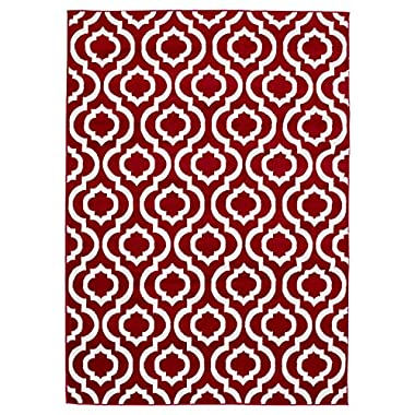 Diagona Designs Contemporary Moroccan Trellis Design 8 by 10 Area Rug, 114  W x 94  L, Red/ Ivory