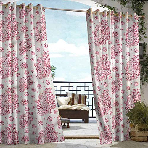 crabee Outdoor Privacy Curtain for Pergola Coral,Peonies English Roses,W84 xL108 for Front Porch Covered Patio Gazebo Dock Beach Home