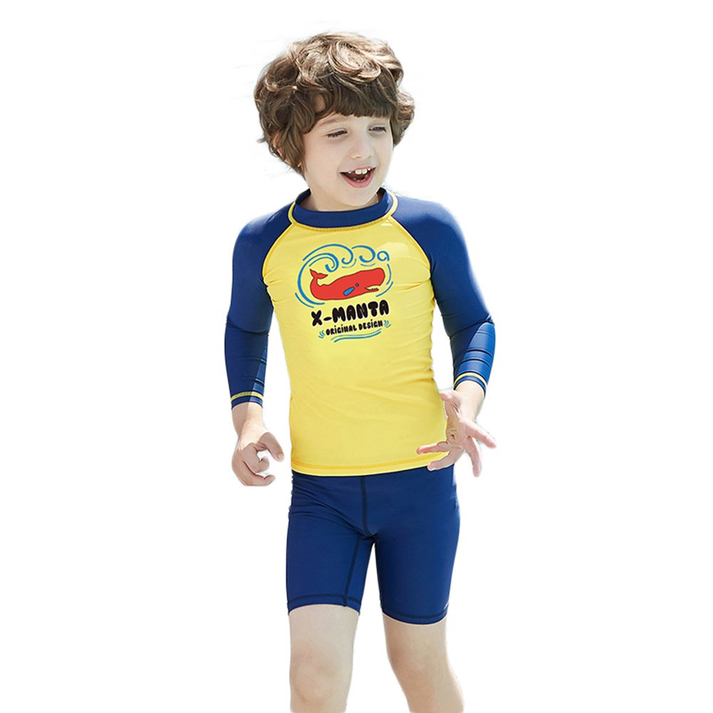 LSERVER Kids Two Piece Rash Guard UV Protection Thermal Swimsuit Shorty Suit