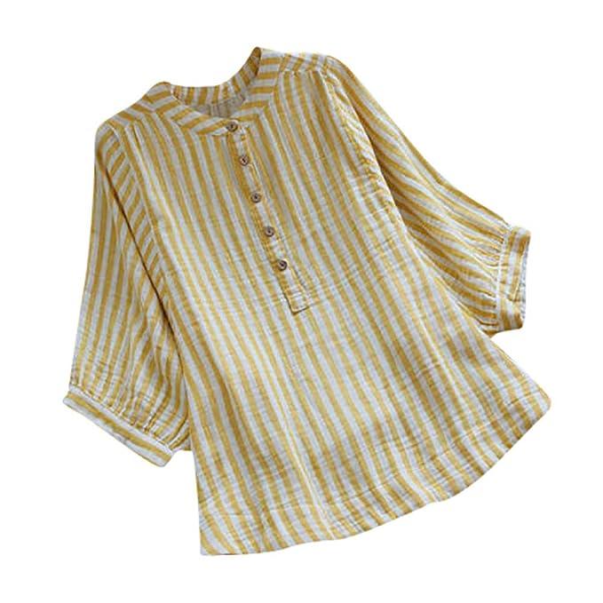 Yvelands Camisa de Lino para Mujer Camisa Suelta a Rayas Ocasional Botón Abajo Blusa de Manga Larga Superior: Amazon.es: Ropa y accesorios