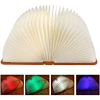 LED Foldable Book Light, 4 Colors Modes USB Rechargeable Creative Night Light Bedside Lamp Desk Wall Magnetic Lamp…