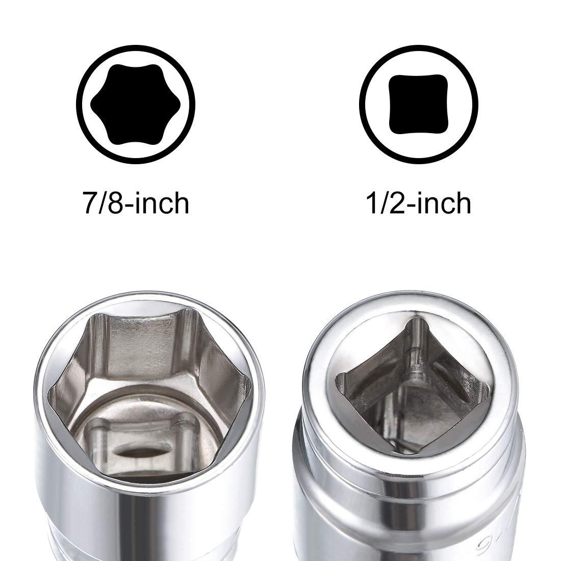 sourcing map 1//2 Inch Drive 6 Point Shallow Socket 11//16 Inch Cr-V Steel