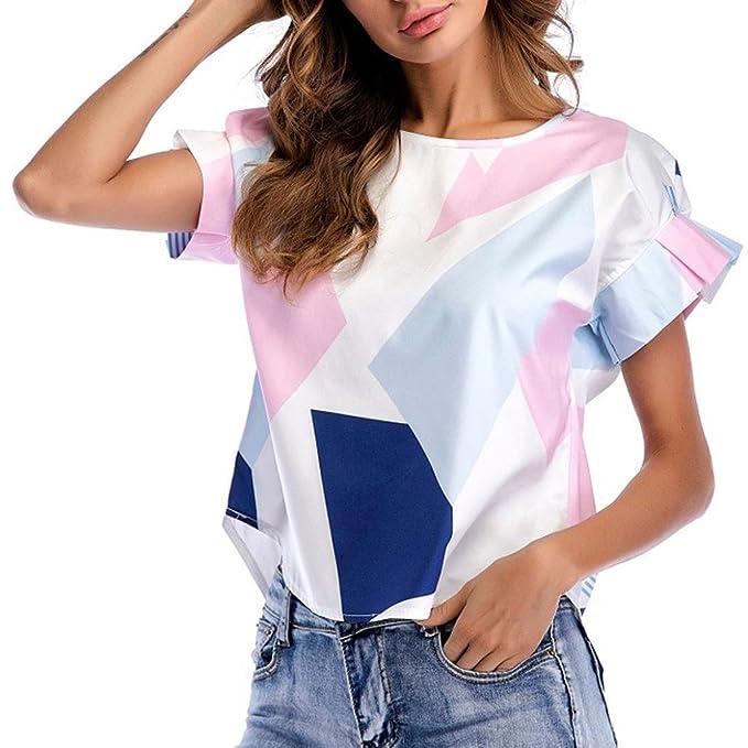 ASHOP Camisetas Muje, Camisetas Manga Corta EN Oferta Suelto Tops Blusas de Mujer Elegantes de Fiesta Baratas Colorblock Impresión O Cuello T-Shirt Moda ...