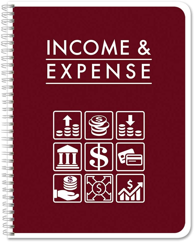 "BookFactory Income & Expense Journal/Accounting Ledger Book/Bookkeeping Income and Expenses Tracking Ledger Log Book/LogBook 108 Pages - 8.5"" x 11"" Wire-O (LOG-108-7CW-PP-(IncomeExpense)-BX)"